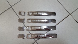 Накладки на ручки дверей с логотипом на LC200 из нерж.