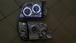 """Оптика передняя """"Ангельские глазки"""" тюнинг для Toyota Prado 90"""