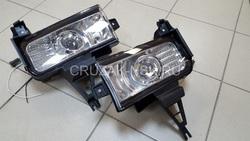 Противотуманные фары хромированные LC200 со светодиодной подсветкой (комплект).