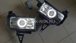 Противотуманные фары линзовые LC200 с ангельскими глазками (комплект)