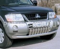 Защита переднего бампера с пластинами Pajero 03-06