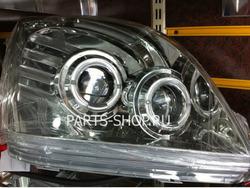 Фары передние с двумя линзами, ангельскими глазками и светодиодной подсветкой LC120 хромированные (PS5)