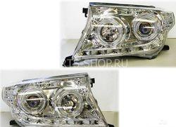 Фары передние линзовые хромированные с диодной подсветкой LC200 (комплект)