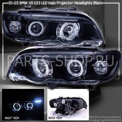 Фары черные BMW X5 линзовые с ангельскими глазками 00-04
