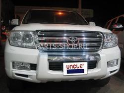 Защита переднего бампера пластиковая LC200 (черный, белый, золото либо под покраску)