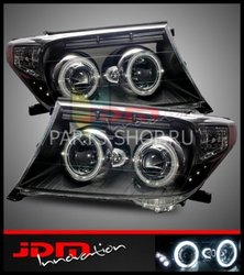 Фары передние линзовые с ангельскими глазками Land Cruiser 200 черные (комплект)