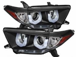 Фары передние линзовые с дневной подсветкой 2011-2013 (черные)