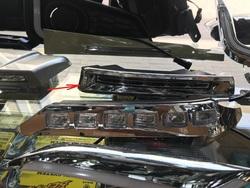 Дневные ходовые огни в бампер LC150 хромированные