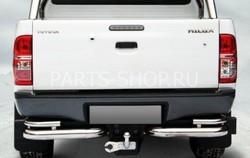 Защита заднего бампера двойная, угловая Hilux 2012-