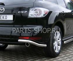 Защита заднего бампера угловая на Mazda CX-7 2010-
