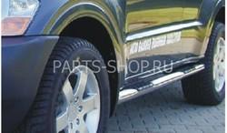 Пороги трубообразные 76 мм c площадкой для ноги Pajero 03-06