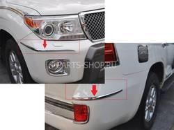 Накладки на передний и задний бампера LC200 12- (4 части)