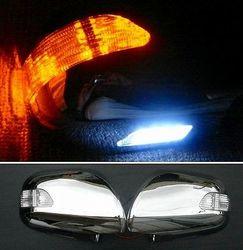 Корпуса на зеркала хром LC120 с диодными повторителями поворотов и подсветкой снизу
