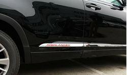 Молдинги на двери из нерж. стали highlander 2014-2019 с логотипом