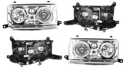 Оптика передняя на lc80 с неоновым кольцом (черная или хром)