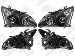 """Фары Lexus RX350-400h линзовые черные с """"ангельскики глазками"""" и диодной подсветкой"""