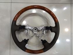 Руль классический gx470 серая, черная или бежевая кожа с тёмным либо светлым деревом
