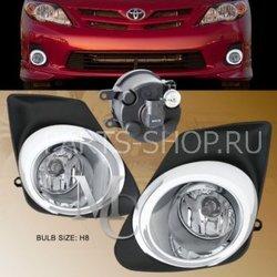 Фары противотуманные Corolla 2010 (комплект) с хром накладкой
