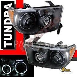 Фары на Toyota Tundra 08 черные линзовые с ангельскими глазками