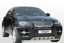 Защита переднего бампера на BMW X6 с высокой защитой картера, нерж.полиров.